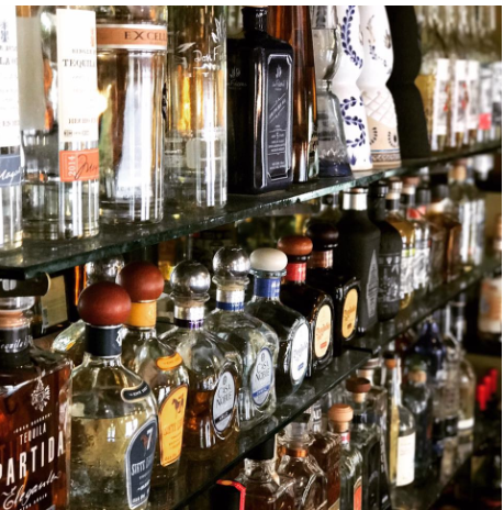 Feast on the expansive tequila selection at the bar