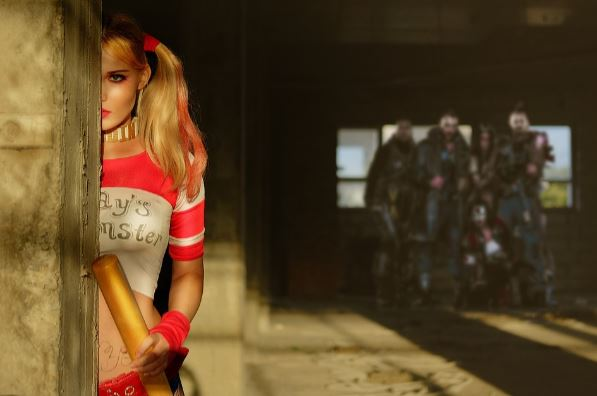 Girl-dressed-as-Harley-Quinn