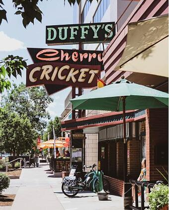 Cherry Cricket's facade with bikes parked outside, and there is signage above that reads Duffy's Cherry Cricket.